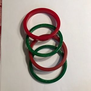 Vintage Bakelite Bangle Bracelets - 2 red 2 green